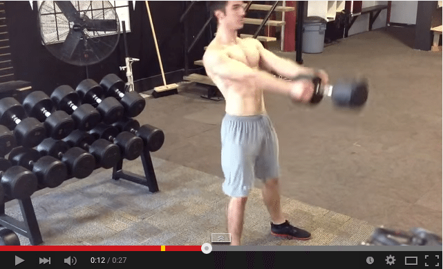 Dumbell swing demo. A great exercise to improve fitness for skiing
